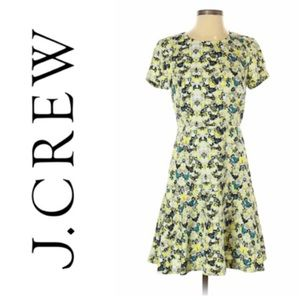 J. Crew Fit and Flare Yellow Floral Dress Size 2